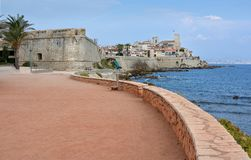 Antibes Promenade Old Town and Wall, Provence, France royalty free stock photo