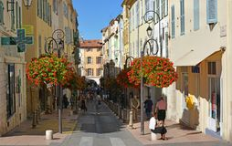 Antibes Street in Autumn, Southern Provence, France Stock Photos