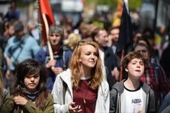 Antibesnoeiingenprotest in Londen Stock Foto's