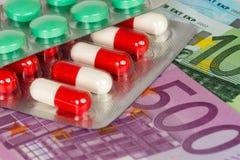Antibiotic capsules euro banknotes Royalty Free Stock Images