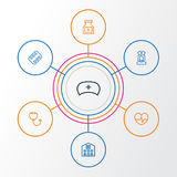 Antibiotic Outline Icons Set. Collection Of Stethoscope, Medical Hat, Heartbeat And Other Elements. Also Includes Royalty Free Stock Photo