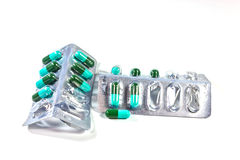 Antibiotics capsules. Antibiotics capsules on a white background Stock Photos