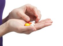 Antibiotics on the hand Royalty Free Stock Photography