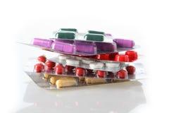 Antibiotics heap. Heap of different antibiotics in a blisters stock photo