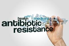 Antibiotikaresistenzwort-Wolkenkonzept auf grauem Hintergrund Stockfotografie