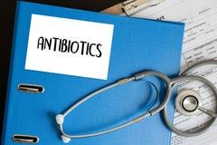 ANTIBIOTIQUES et antibiotiques - drogue imprimée de thérapie de mélange de diagnostic image stock