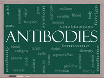 Antibodies Word Cloud Concept on a Blackboard Royalty Free Stock Images