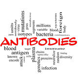 Antibodies Word Cloud Concept in Red Caps Stock Photo
