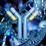 Antibody, immunoglobulins and DNA helix. On a beautifully blurred background royalty free stock photos