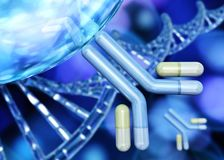 Antibody, immunoglobulins and DNA helix. On a beautifully blurred background stock photography