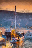 Antic boat. Seascape with antic boat on sunset. Oil painting Royalty Free Stock Images