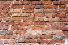 Antic brick texture on the wall of an old Turaida castle in Latvia. Architecture background Stock Photos