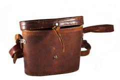 Antic brown natural leather shoulder bag (binocula Stock Photo