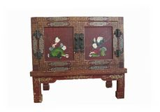 Antic chest parted in Japanese style. Retro vintage antic piece of furniture. Japanese Chinese chest of treasure, old ancient hand painted box Stock Photo