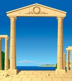 Antic entrance. Raster version of  image of classical antic entrance Stock Images