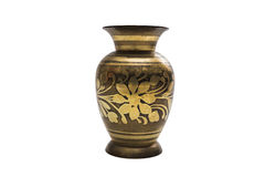 Antic gold engraved dyed metal vase in oriental style Royalty Free Stock Image