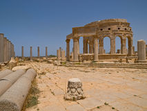 The antic market-hall. Ruins of the antic market-hall, in Laptis Magna in Lybia Royalty Free Stock Photography
