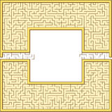Antic maze frame. Antic rectangular maze frame with yellow edges Royalty Free Stock Photo