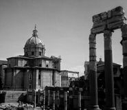 Antic ruins. With church in Roma city Stock Photos