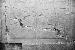 Antic stone of the wailing wall in black and white Stock Images