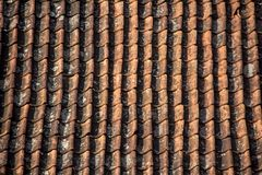 Antic Tile texture on the roof of an old Kuldiga house in Latvia. Stock Photos