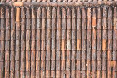 Antic Tile texture on the roof of an old Turaida castle in Latvia. Architecture background Royalty Free Stock Images