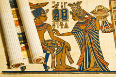 Anticient埃及纸莎草和滚动 免版税库存照片