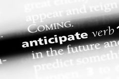 Anticipate. Word in a dictionary.  concept royalty free stock photo