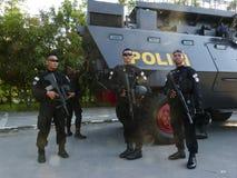 Anticipate terrorist attacks. Police anticipate terrorist attacks in the city of Solo, Central Java, Indonesia stock images