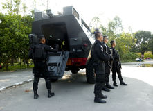 Anticipate terrorist attacks. Police anticipate terrorist attacks in the city of Solo, Central Java, Indonesia royalty free stock photo