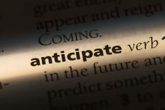 Anticipate. Word in a dictionary.  concept royalty free stock photos