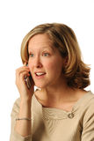 Anticipating News. Young Professional Woman using Cell Phone Stock Photography