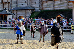 In anticipation of an attack. International Championship on the historical medieval battle Call of heroes. It passes near Kiev, in the village of Kopachev Royalty Free Stock Photos