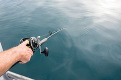 Anticipation of catching a fish: man`s hand holding fishing rod. Pole with line in sea water in Far North District, Northland, New Zealand, NZ Royalty Free Stock Images