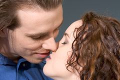 In anticipation ofʠkiss. Loving affectionate couple preparing to kiss Royalty Free Stock Photography
