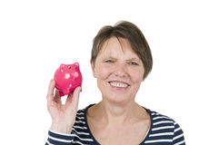 Anticipation with piggy bank Royalty Free Stock Images
