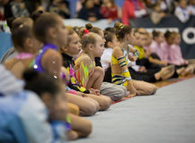 Anticipation results. Gimnast competition. Gymnasts resting after the speech. Gimnastics open tournament. 16-17th December 2011, Lviv, Ukraine Stock Photography