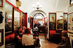 Antico Caffe Greco, the oldest bar in Rome. ROME, ITALY - NOVEMBER 8, 2014: Interior view of the Antico Caffe Greco, the oldest bar in Rome stock photography