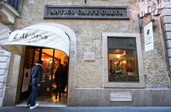 The Antico Caffè Greco in Rome. The Antico Caffè Greco is a historic landmark café in Rome. It is  the best known and oldest bar in Rome Stock Photos
