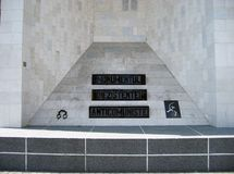 Anticommunist monument. Marble anticommunist monument built in Cluj, Romania stock image