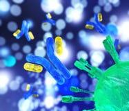 Anticorpi e virus illustrazione vettoriale