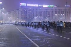 Anticorruptieprotesten in Boekarest op 22 Januari, 2017 Stock Fotografie