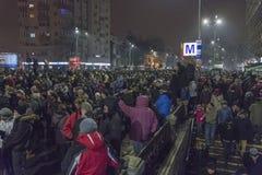 Anticorruptieprotesten in Boekarest op 22 Januari, 2017 Stock Afbeeldingen