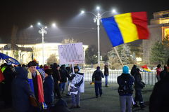 Anticoruption protest in Bucharest, Romania Royalty Free Stock Photos
