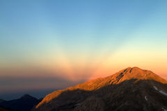 Anticrepuscular rays. Diverging fan of rays observed at sunset on the side opposite to the sun Royalty Free Stock Photos