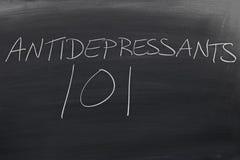 Antidépresseur 101 sur un tableau noir Photos libres de droits
