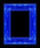 Antiek beeld blauw die kader op zwarte achtergrond wordt geïsoleerd, clippin Stock Foto