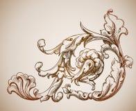 Antiek bloemenelement Stock Illustratie