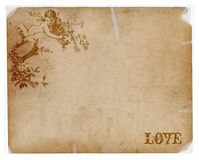 Antiek document met engel en liefdetekst Stock Afbeelding