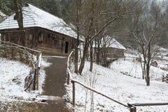 Antiek Dorp in de Winter stock foto
